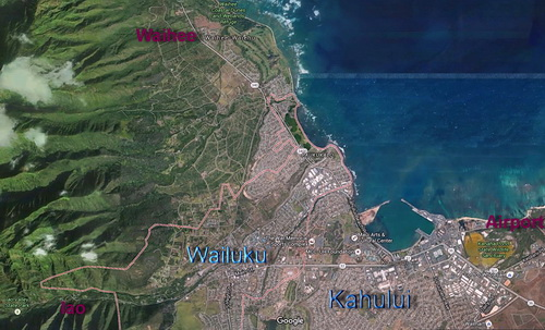 Map of Kahului Wailuku from Google